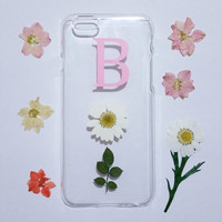 monogram iPhone 6s case,Personalized iPhone 6s plus Case,pressed flower iPhone 5C case,initial iphone 6 plus case,real flower iphone case