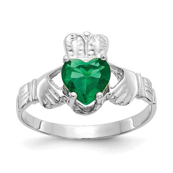 14k White Gold May Emerald Heart Claddagh Ring