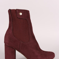 Shoe Republic LA Suede Elastic Gore Chunky Heeled Ankle Boots