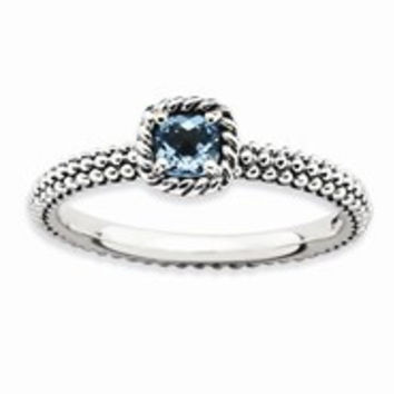 Sterling Silver Checker-cut Blue Topaz Antiqued Ring