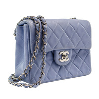 Chanel Vintage Light Blue Lambskin Mini Flap