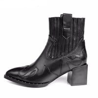 Genuine Leather Embroidered Cowboy Boots