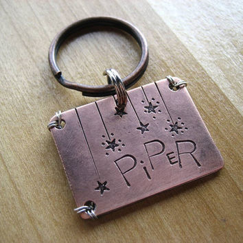 Copper Pet Id Tag - Unique Pet Id Tag - Hand stamped Pet Tag - Aluminum Backer - Wire Wrap