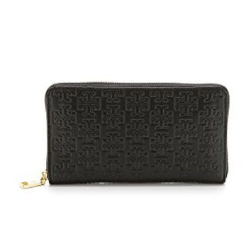 Tory Burch Embossed Tzip Leather Continental Zip Wallet Black Leather New