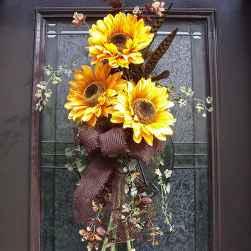 Fall Wreath Yellow Sunflower Swag Summer Wreath Front Door Decoration Sunflower Bouquet