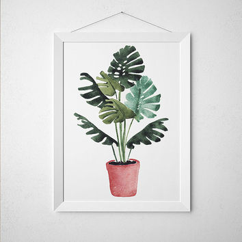 Potted plant decor Botanical print Flower poster Watercolor print ACW650
