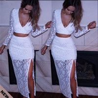 2015 New Europe Brand Bandage Dress Sexy Slim Casual Lace Women Dresses Fashion Party Gown Prom Ball Split White Lace Vestidos