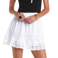 High-Waisted Crochet Trim Skirt by Charlotte Russe