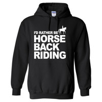 I'D RATHER BE HORSE BACK RIDING - Heavy Blend™ Hooded Sweatshirt