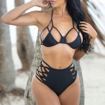 Black Strappy High Waist Bikini