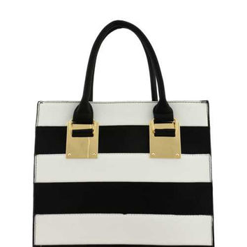 DESIGNER STRIPED TOTE BAG