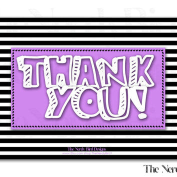 Black and White Striped Purple Printable Baby Shower Thank You Card