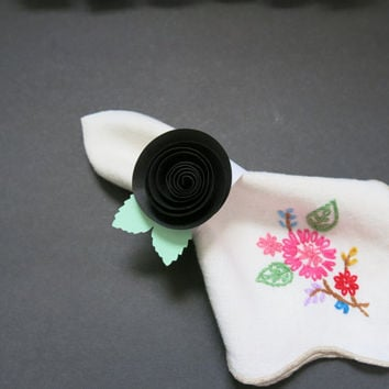 10 black rose napkin ring set, paper flower rings 50th birthday party decor, wedding table decoration, formal dining, rehearsal dinner decor