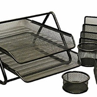 KLEAREX™ 5-Pc Office Desk Set in Black Mesh to Organize Simplify Reduce Workplace Clutter and Improve Efficiency