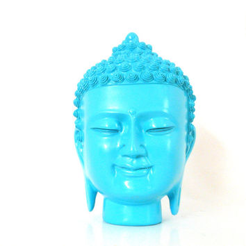 buddha statue, buddha heads, asian sculpture, buddhas, turquoise, pop art, home accessories