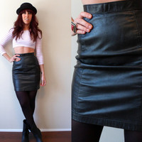 80's High Waist Black Leather Mini Skirt Wilsons Size 6 XS