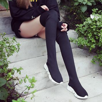2018 New Stretch Fabric Shoes Slip On Over the Knee Boots