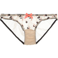 L'Agent by Agent Provocateur|Clementina embroidered tulle briefs|NET-A-PORTER.COM