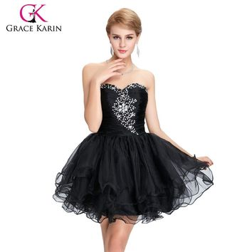 Short Gown Organza Cocktail Dresses Grace Karin Purple Green Pink Little Black Dress Crystal Beading Robe Cocktail 2017