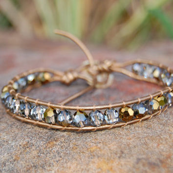Bronze Leather Bracelet with Swarovski by authenticaboutique