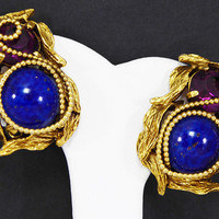 Faux Gemstone Clip on Earrings Intricate Goldtone Rope, Simulated Blue Lapis Faux Purple Amethyst Pearlescent White Beads Vintage 1980s