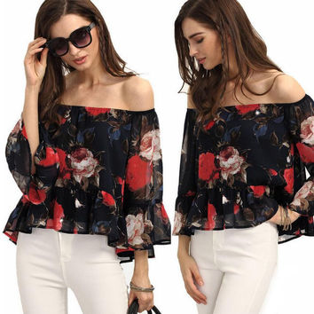 Black Floral Print Off the Shoulder Sheer Mesh Blouse