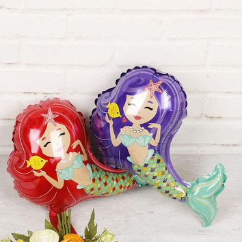 The Little Mermaid Foil Balloons 20pcs Princess Ariel Inflatable Air Baloes Baby Shower Girl Mermaid Party Supplies Globos Ball