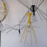 Yellow 10 Spoke Pendant Lights by ReMainDesigns on Etsy