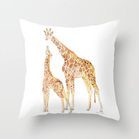 Mother and Baby Giraffes Throw Pillow by Susan Windsor