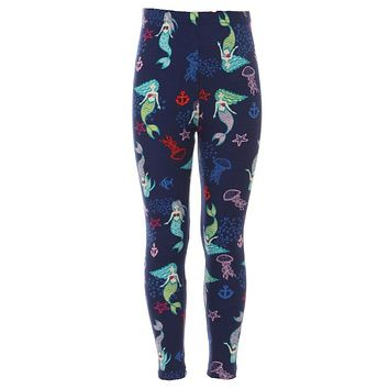 Girls Mermaid & Fish Pattern Printed Leggings