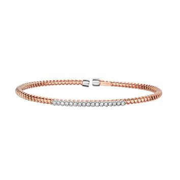 14K Rose+White Gold 3mm Shiny 0.17Ct 1 Pointer FaCeted Round Diamond Bar Element On Wire Textured Fancy Flexable Cuff Type Bangle
