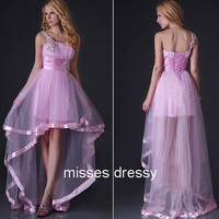One shoulder Sleeveless High-low With Appliques Tulle Pleated Prom Gowns Cocktail dress Party dresses