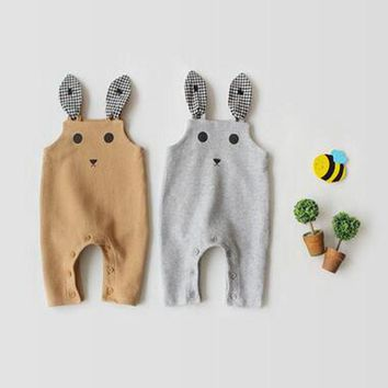 2018 Autumn New Baby Open Suspenders Fashion Cartoon Rabbit Design Cotton Outseam Kid Boys Girls Solid Overall Pants