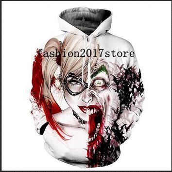 Newest Fashion Womens/Mens Squad Harley Quinn Joker Funny 3D Print Casual Hoodies Pullovers Sweatshirts LMS0053