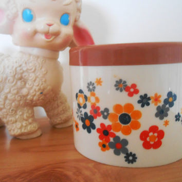 Floral Kitchen Canister - Bedroom Bathroom- Pot Box- 1970s Mod Midcentury
