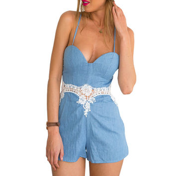 Summer Style Sexy Rompers Womens Jumpsuit White Lace Patchwork Playsuit Ladies Jumpsuits Macacao Feminino Mono Mujer 80153