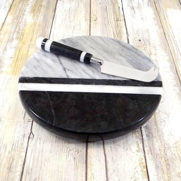 Georges Briard Black and White Marble Cheese Tray with Knife