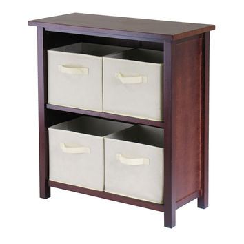 Verona Two Tier Storage Shelf with 4 Beige Basket