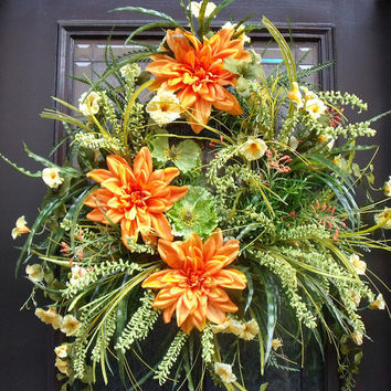 Door Wreaths, Summer Wreath, Petunia Wreath, Orange and Yellow, Woodsy Wreaths