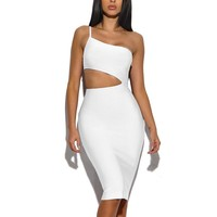 Asymmetric Cutout Detail Bandage Dress