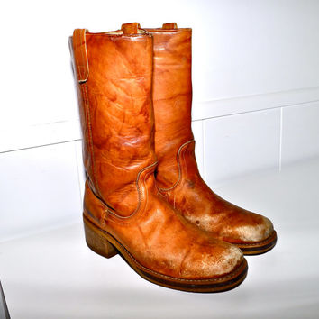 RUSTIC Distressed LEATHER 1980s Vintage Platform Heel Ranch Cowboy Motorcycle Boots Mens size 9