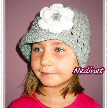 Crochet flower beanie FREE shipping