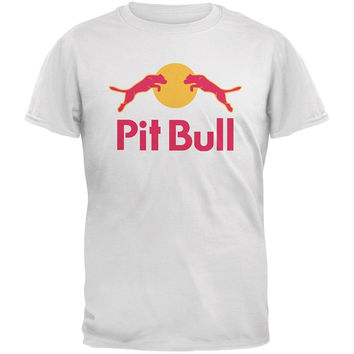 Loose Cotton T-shirts For Men Cool Tops T Shirts Pit Bull Energy Drink Parody White Adult T-shirt