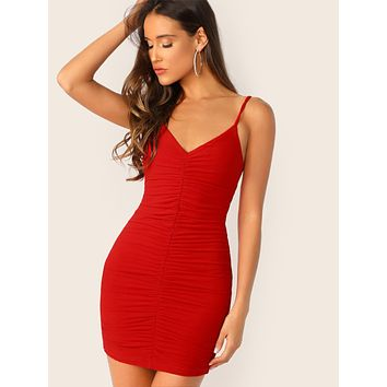 Solid Ruched Bodycon Slip Dress