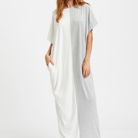 White Contrast Cut and Sew Kaftan Dress