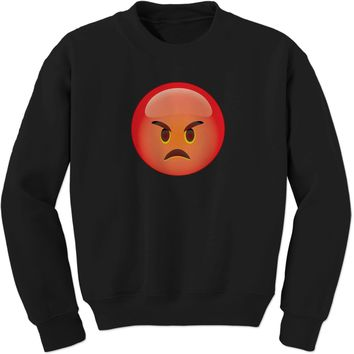 Color Emoticon - Red Angry Face Smiley Adult Crewneck Sweatshirt