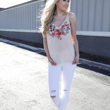 Maricopa Embroidered Cami, Ivory