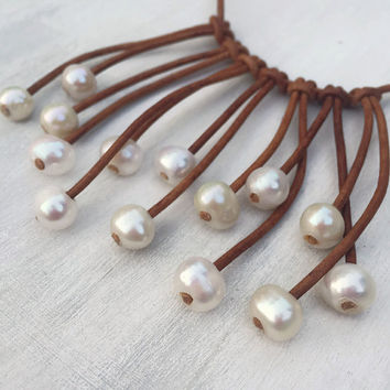 Leather pearl necklace, leather and pearls, pearls on leather, leather jewelry, pearl necklace