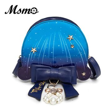 MSMO Pastel Ocean Jellyfish Bag Cute Lolita Girl Marine Blue Bow Pearl Color Shoulder Bag Cross Body Satchel Messenger Handbag