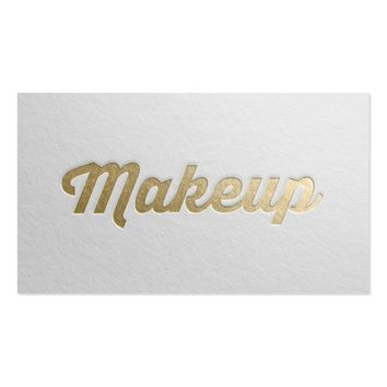Minimal White & Gold Embossed Text Makeup Artist Business Card